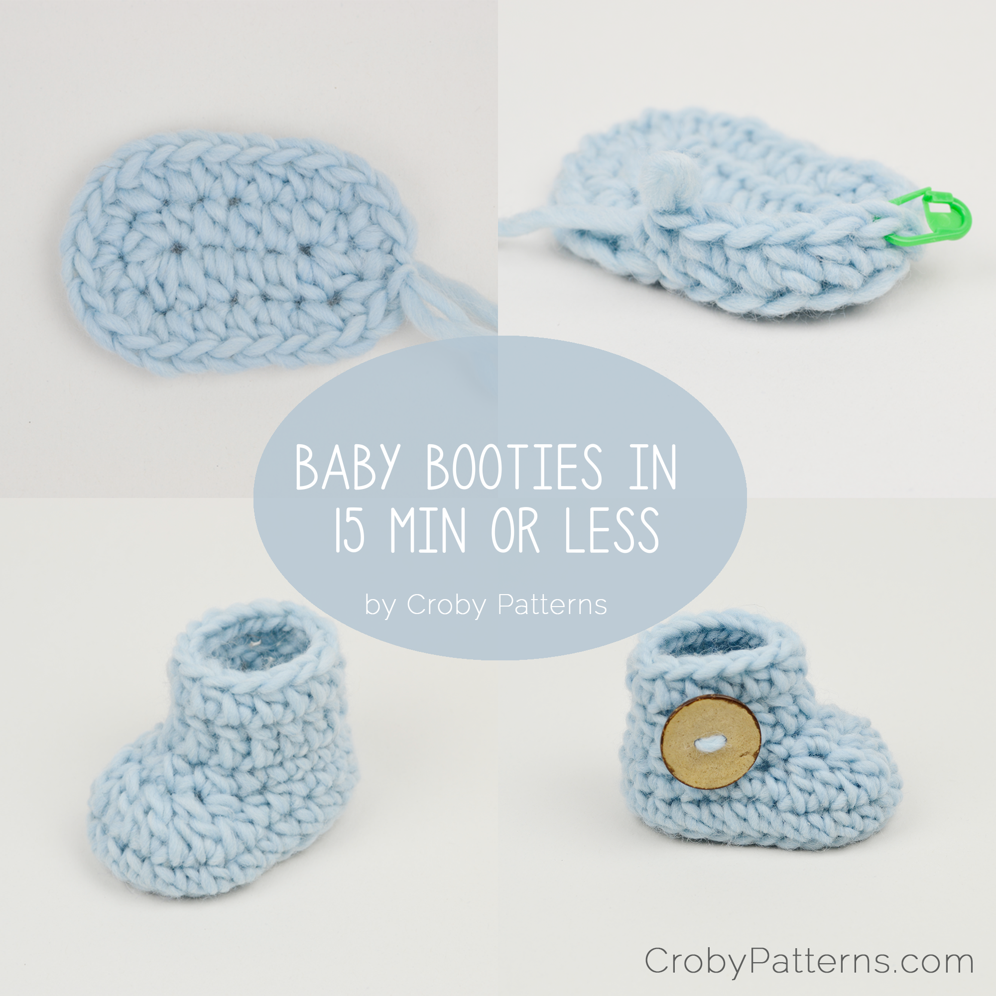 Crochet baby booties in 15 minutes or less! by Croby Patterns | The ...