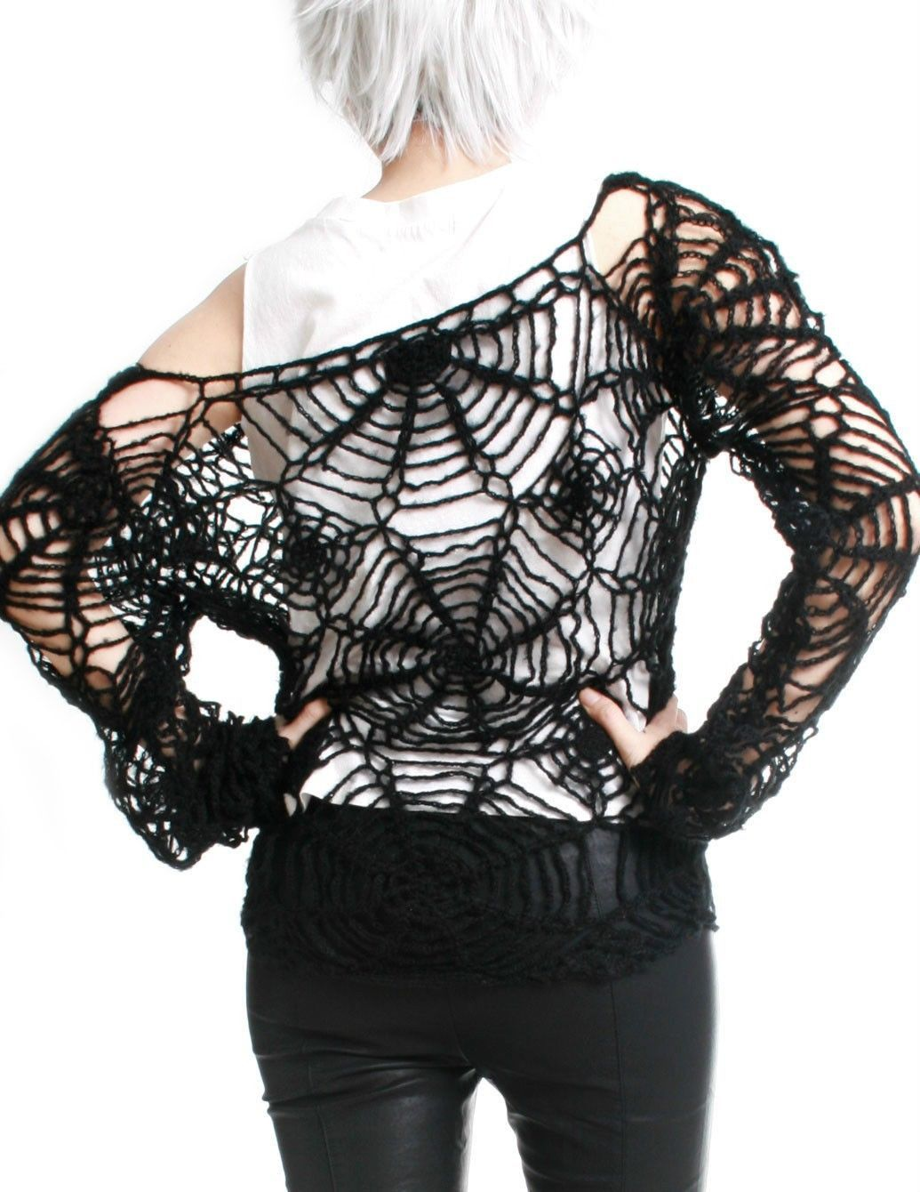 RTBU Goth Punk Cobweb Spider Web Mohair Knitted Crochet Net Tatoo ...