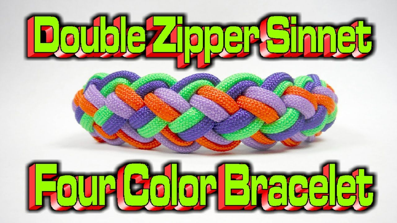 How to make a paracord modified double zipper sinnet 4 colors bracelet