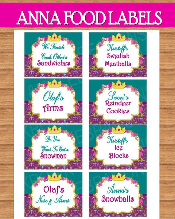 Frozen Party Food Labels Frozen Birthday Party By