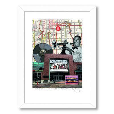 Americanflat Jazz Museum Kansas City by Lyn Nance Sasser and Stephen Sasser Framed Graphic Art