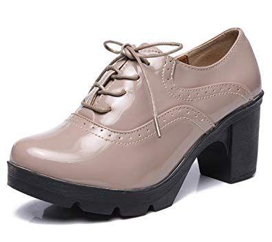 b651b038b25 DADAWEN Women s Classic T-Strap Platform Mid-Heel Square Toe Oxfords Dress  Shoes Apricot US Size 4.5
