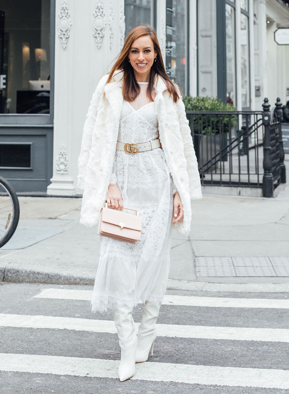f2c1bbc72ee Sydne Style shows how to wear winter white for new york fashion week street  style  winterwhite  tadashishoji  lace  dresses  guccibelt  sydnesummer