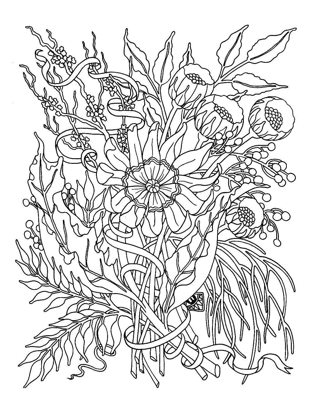 Free Coloring Page Coloring For Adult Flowers Garden Still Some Beautiful Flowers Of The