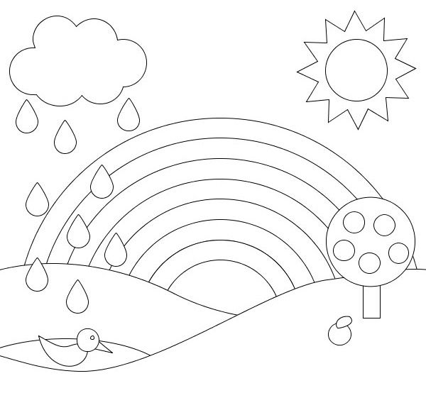 The Rainbow And Rain Coloring Page