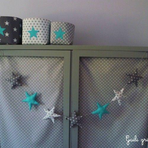 Guirlande d\'étoiles gris/ blanc/ bleu | Bébé | Pinterest | Gris ...