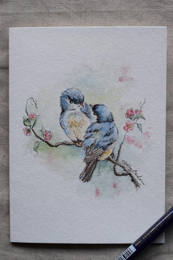 Two Antique blue birds conversing on a pink flower tree. I have always loved vintage birds painting, love the antique blue color on this painting, hope you enjoy it. Prints only. You may only order multiple cards for a print (not for an original). This is a hand-painted watercolor greeting card on