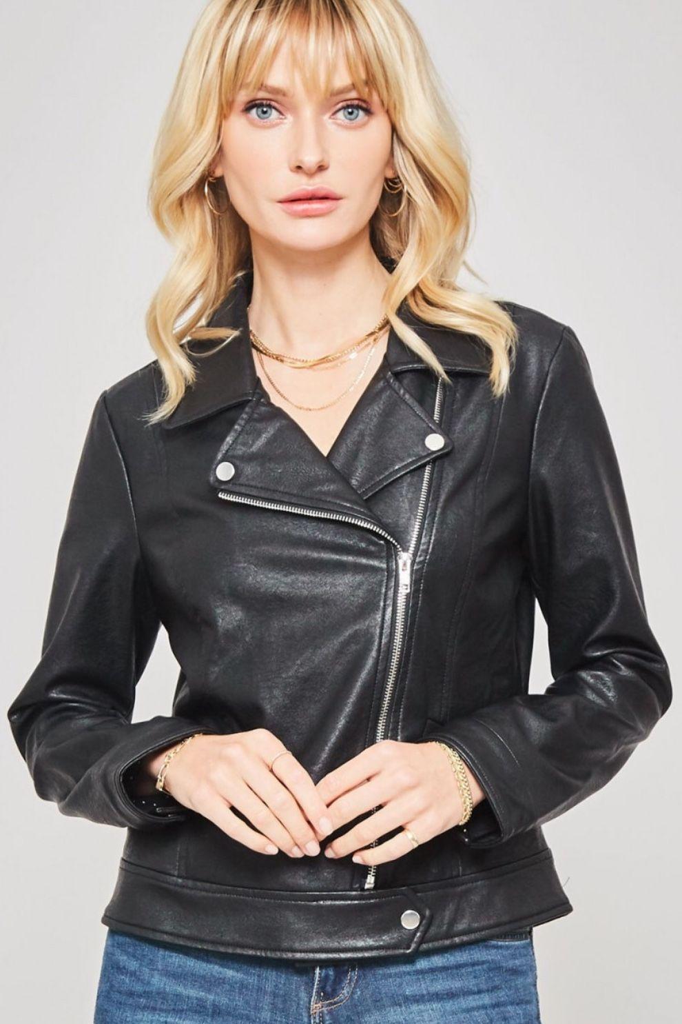 Roxie Vegan Leather Moto Jacket Black Vegan leather