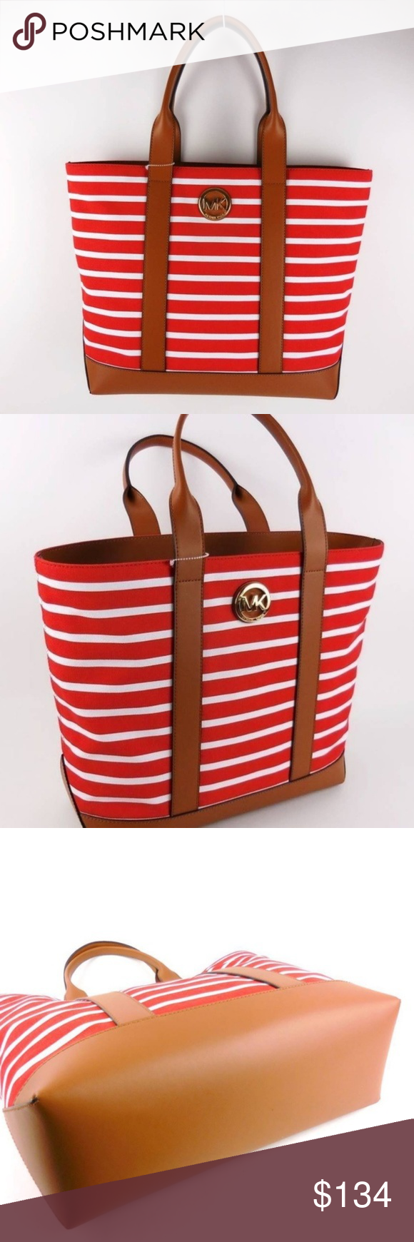 Michael Kors Fulton Striped Red White Canvas TOTE 0064 100% AUTHENTIC and  Brand New with 6cd889ad5fd6b