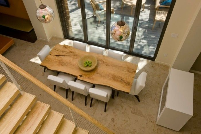 Naturholz Esstisch Weisse Lederstühle Esszimmer Einrichten