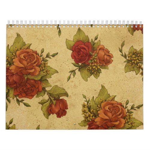 Vintage Rose Floral Wallpaper Distressed Red Roses Calendar Vintage Floral Backgrounds Vintage Wallpaper Patterns Floral Wallpaper