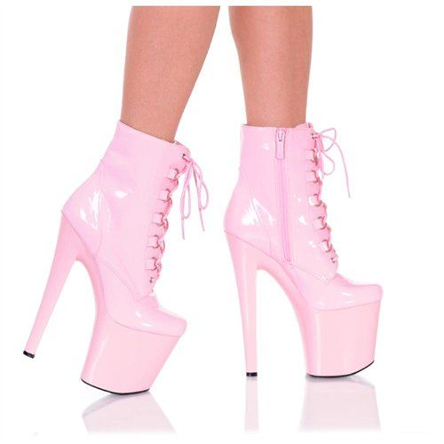 """Details about  /8/"""" Black Leather Super High Platform Pleaser Stripper Dancer Heels Boot Flamingo"""