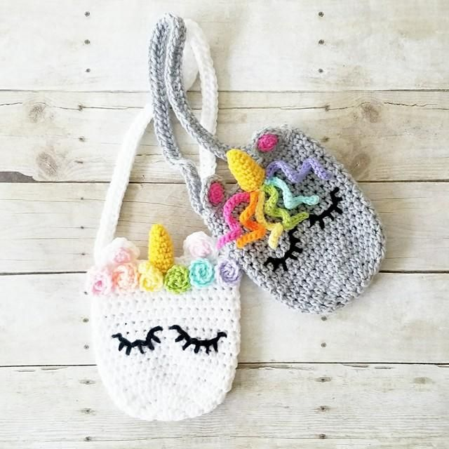 Crochet Unicorn Purse Girl\'s Accessory Toddler Child Handmade ...