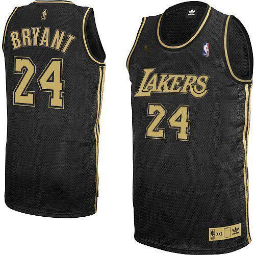 Men's Kobe Bryant Authentic Black/Grey Jersey: Adidas #24 NBA Los ...