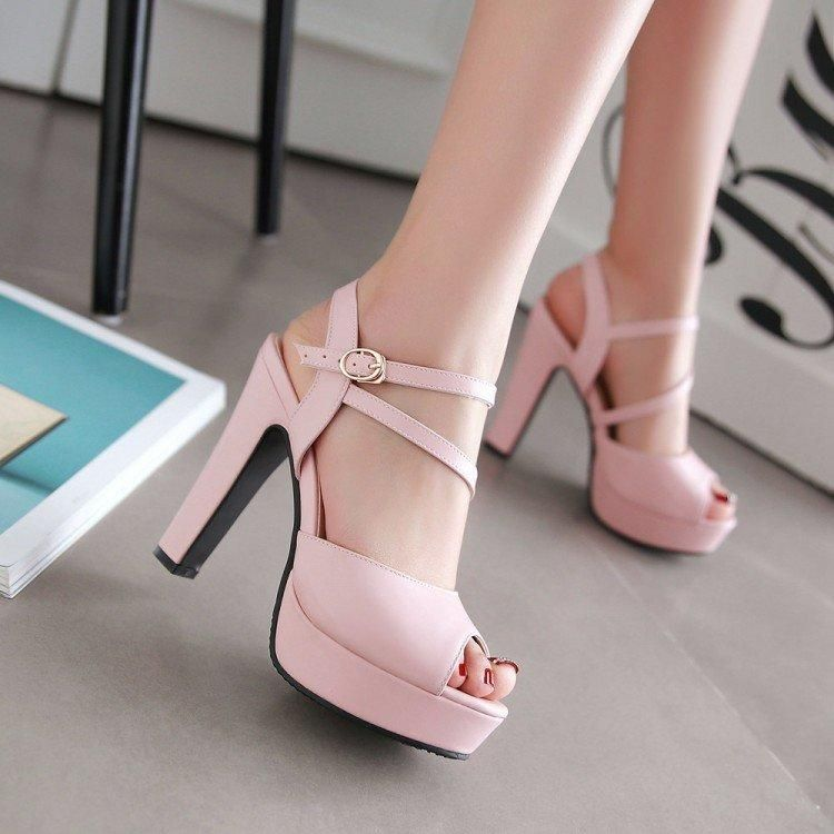 The New Sweet Princess Princess Shoes with high Heels Shoes Toe Fish Mouth Sandals