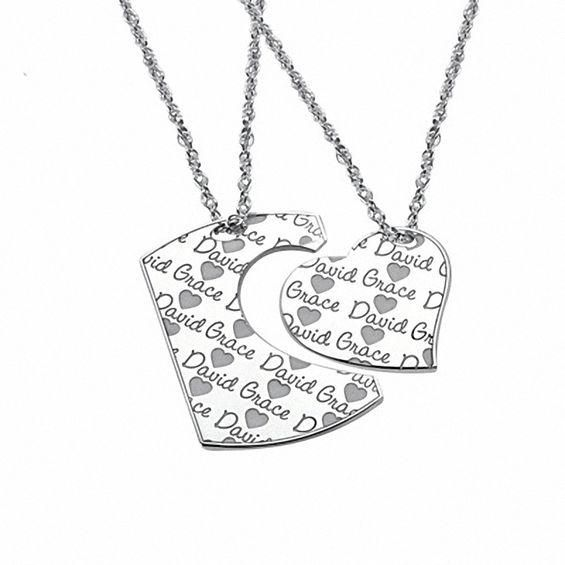 Zales Couples Diamond Accent Double Ribbon Heart Pendant in Sterling Silver (2 Names) 5TWWM