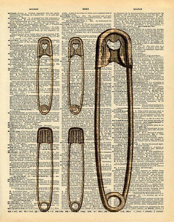 Safety Pins Print Vintage Dictionary Print Upcycled