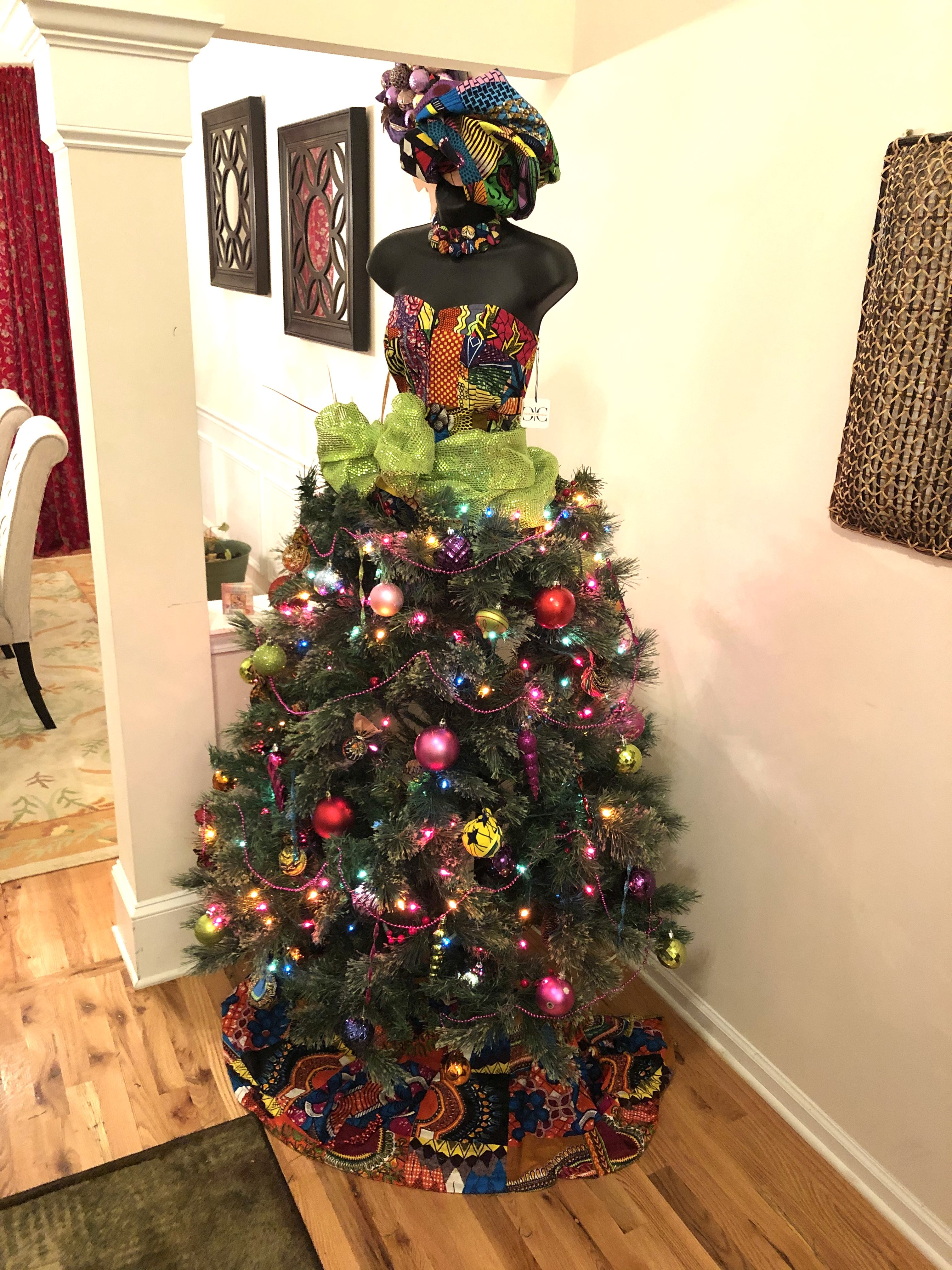 This Christmas tree is adorned with African patchwork. 17 ...