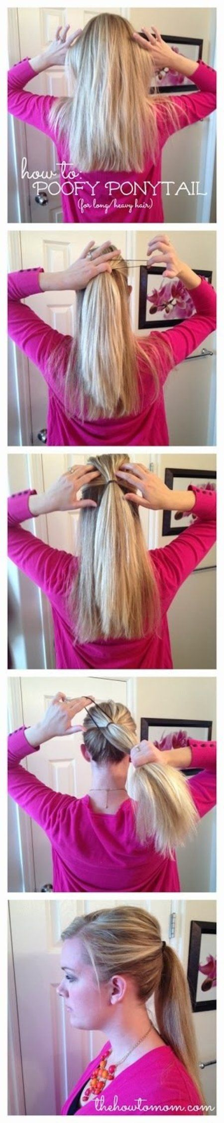 U could do dis and not poof it, and it makes ur ponytail stay without falling (those with long thick hair like me know what im talking about) and makes your hair look, fuller! A must for a active job