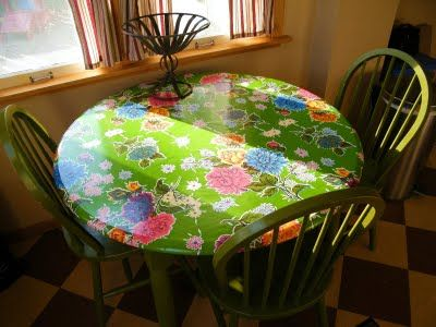 Fitted Oil Cloth Table Slipcover Mini Tutorial Round Table