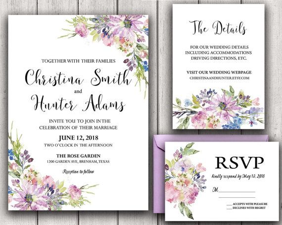 Floral Wedding Invitation Printable Wedding Invitation Suite Rustic Wedding Invite Boho Wedding Invite Asters Violets Wedding Purple DIY