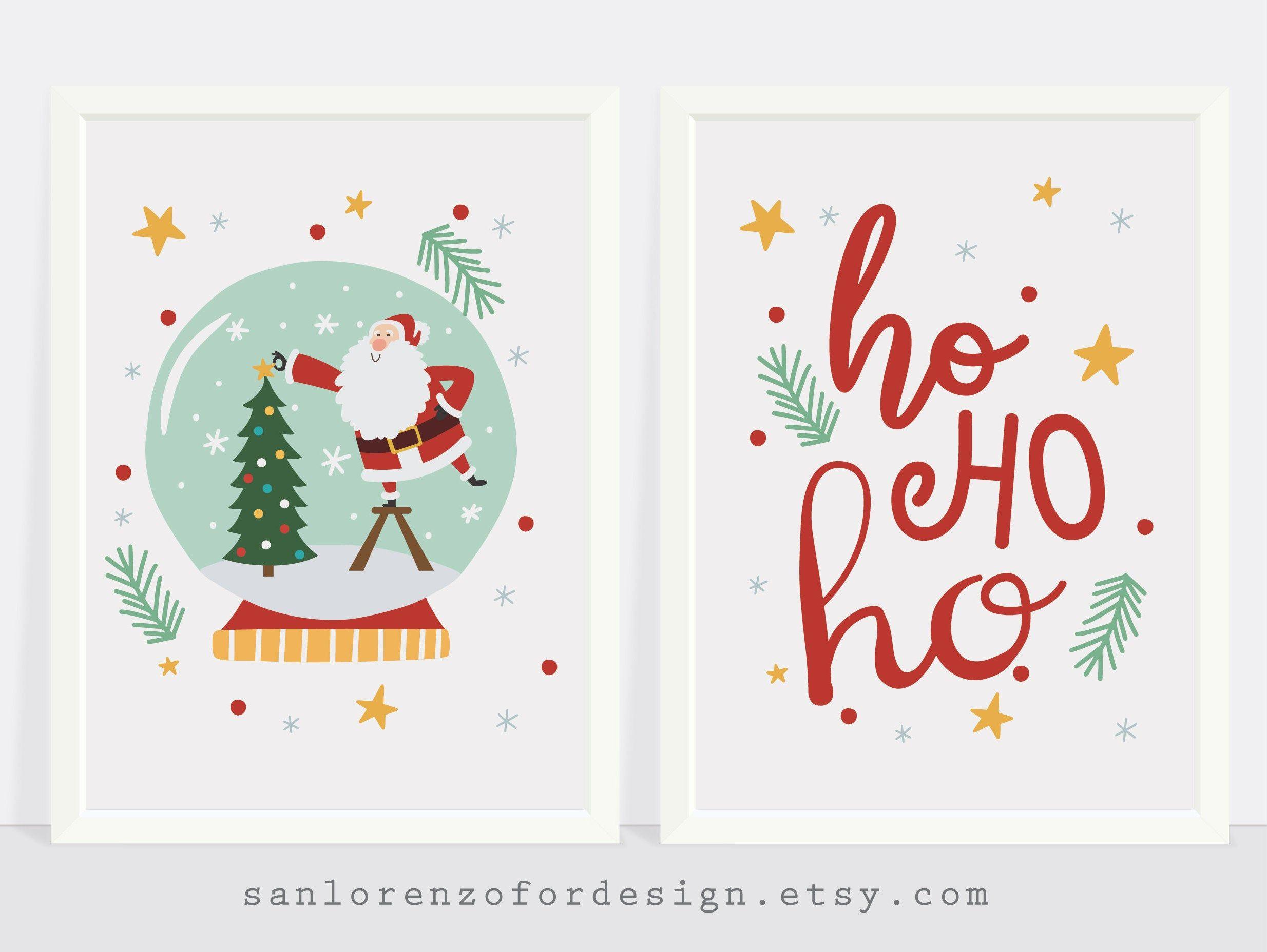 Santa Printable Wall Art Christmas Poster Holiday Decor Ho Etsy Printable Wall Art Christmas Wall Art Art For Kids