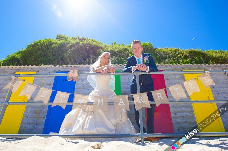 beach huts and bride