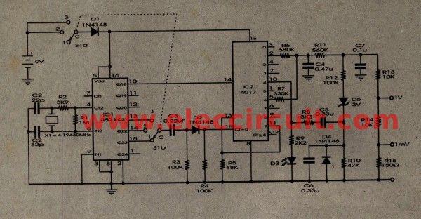Schema Elettrico Walkie Talkie : Ecg simulator circuit using cd4521 and cd4017 eleccircuit