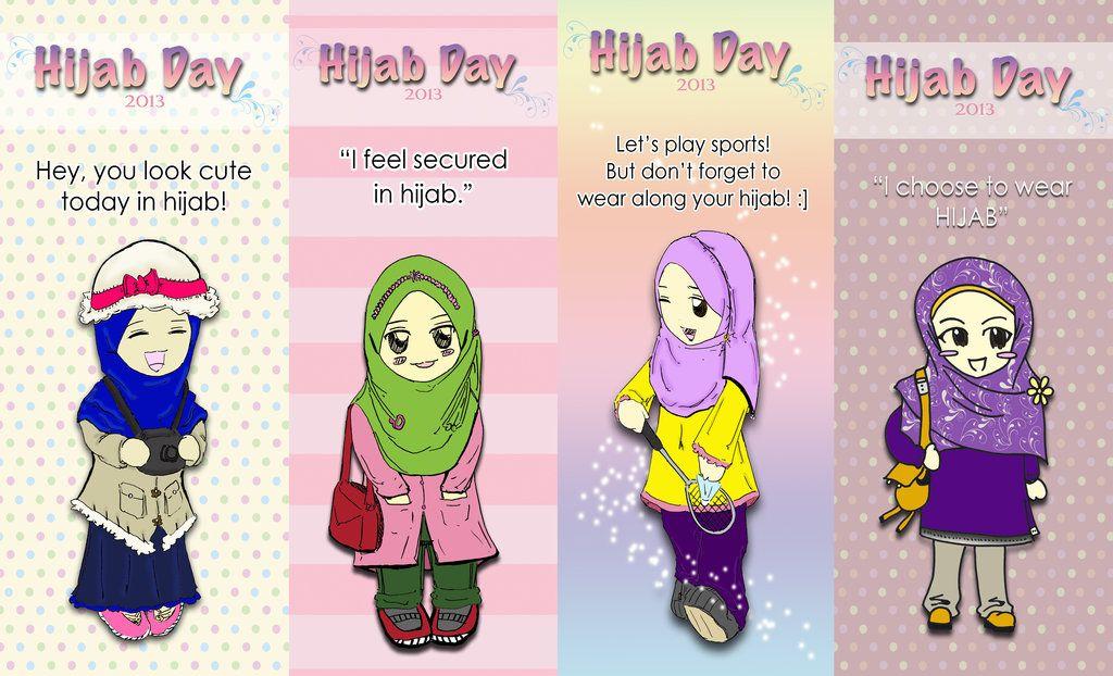 Gambar Sahabat 4 Orang Hijab Kartun