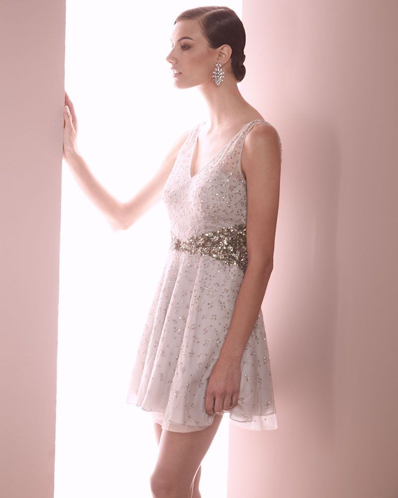 1766b0af32 Aidan Mattox Beaded Sleeveless V-Neck Dress