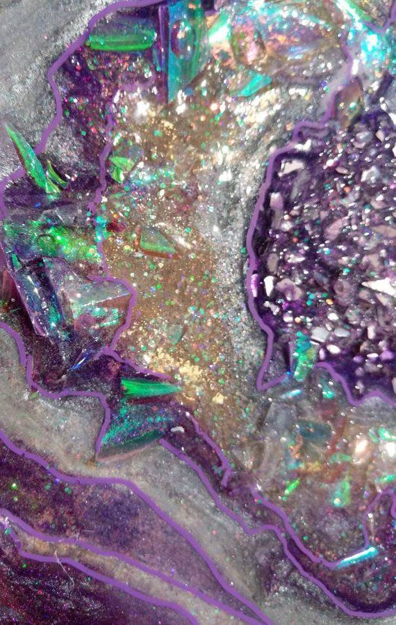 Holographic Purple Abstract Resin Geode Painting Fluid