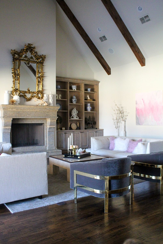 modern glam zen living room, baroque venetian mirror, MGBW franco ...