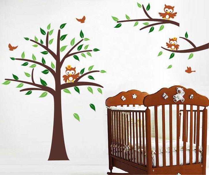 Nursery Tree and Owls Wall Mural Owl wall mural, Nursery