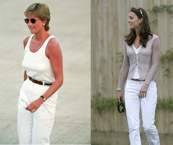 Dark glasses and white jeans were also the order of the day for summertime occasions - the stylish shades are possibly an attempt to remain incognito from the ever-present paparazzi.