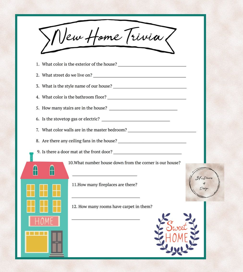 House Warming Party: New Home Trivia Game - Instant ...