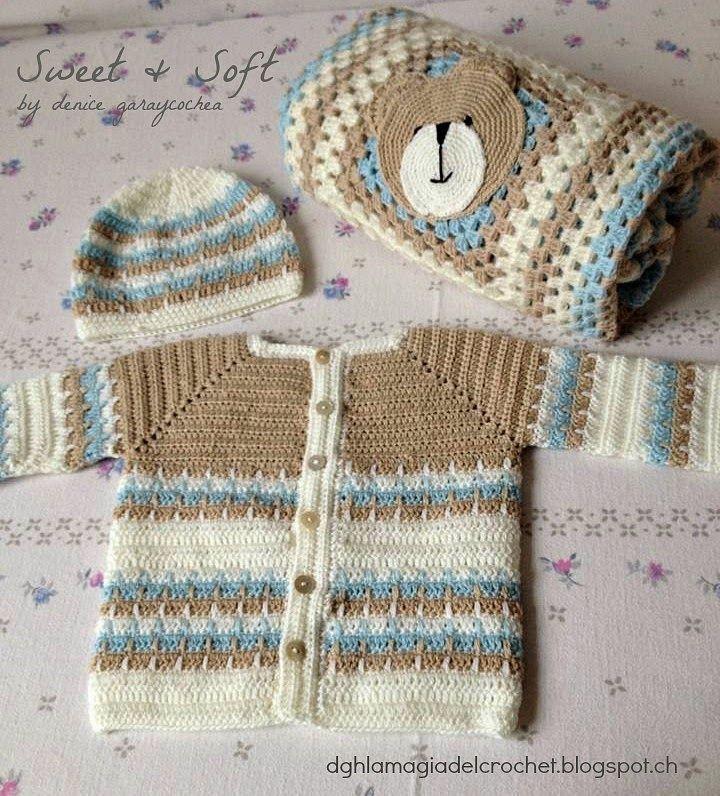 Resultado de imagen para saquito para bebe con capucha crochet ...