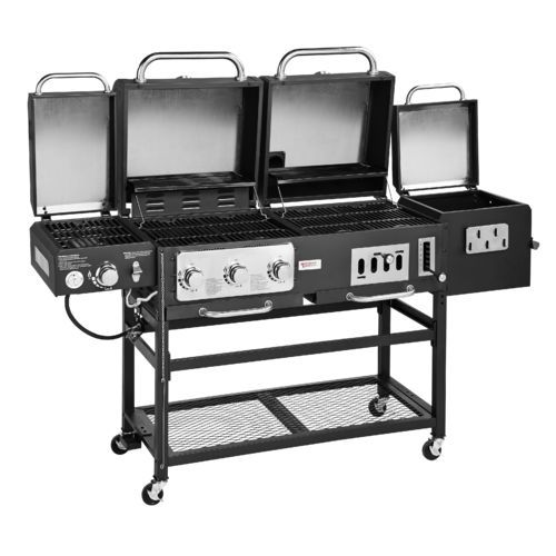 Outdoor Gourmet Pro Triton Dlx 4 Burner Propane And Charcoal Grill Smoker Combo