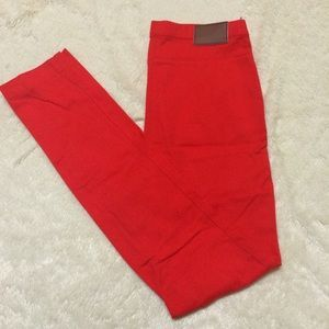 I just discovered this while shopping on Poshmark: Bright red high waist H&M skinny pants. Check it out! Price: $25 Size: 4