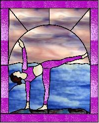 yoga half moon pose  stained glass stained glass