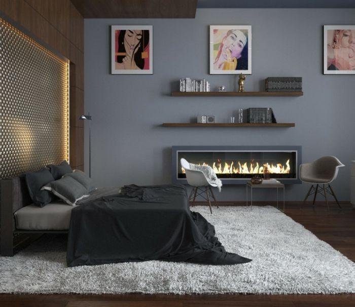 Dunkel Wandfarbe Grau Im Schlafzimmer   Kamin Neben Dem Bett