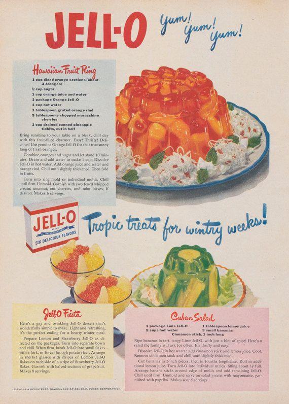 1950 Jell,O Gelatin Ad Hawaiian Fruit Ring Salad by