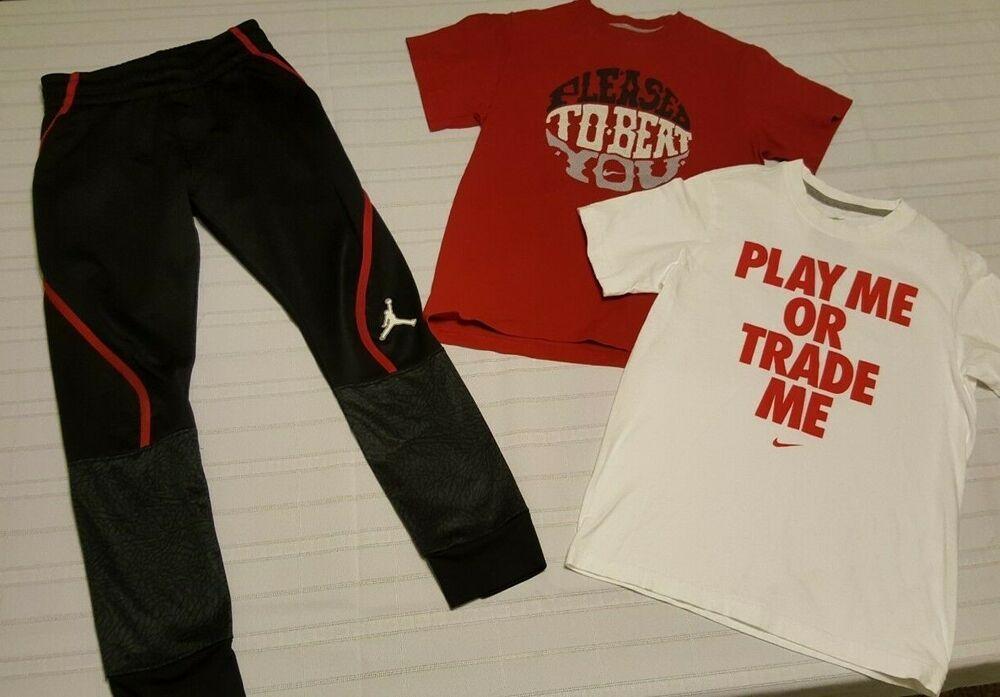 e55ee5b63f1 LOT BOYS Nike T Shirts & Air Jordan Thema fit Jogger Sweatpants size Small 8-10  #fashion #clothing #shoes #accessories #kidsclothingshoesaccs ...