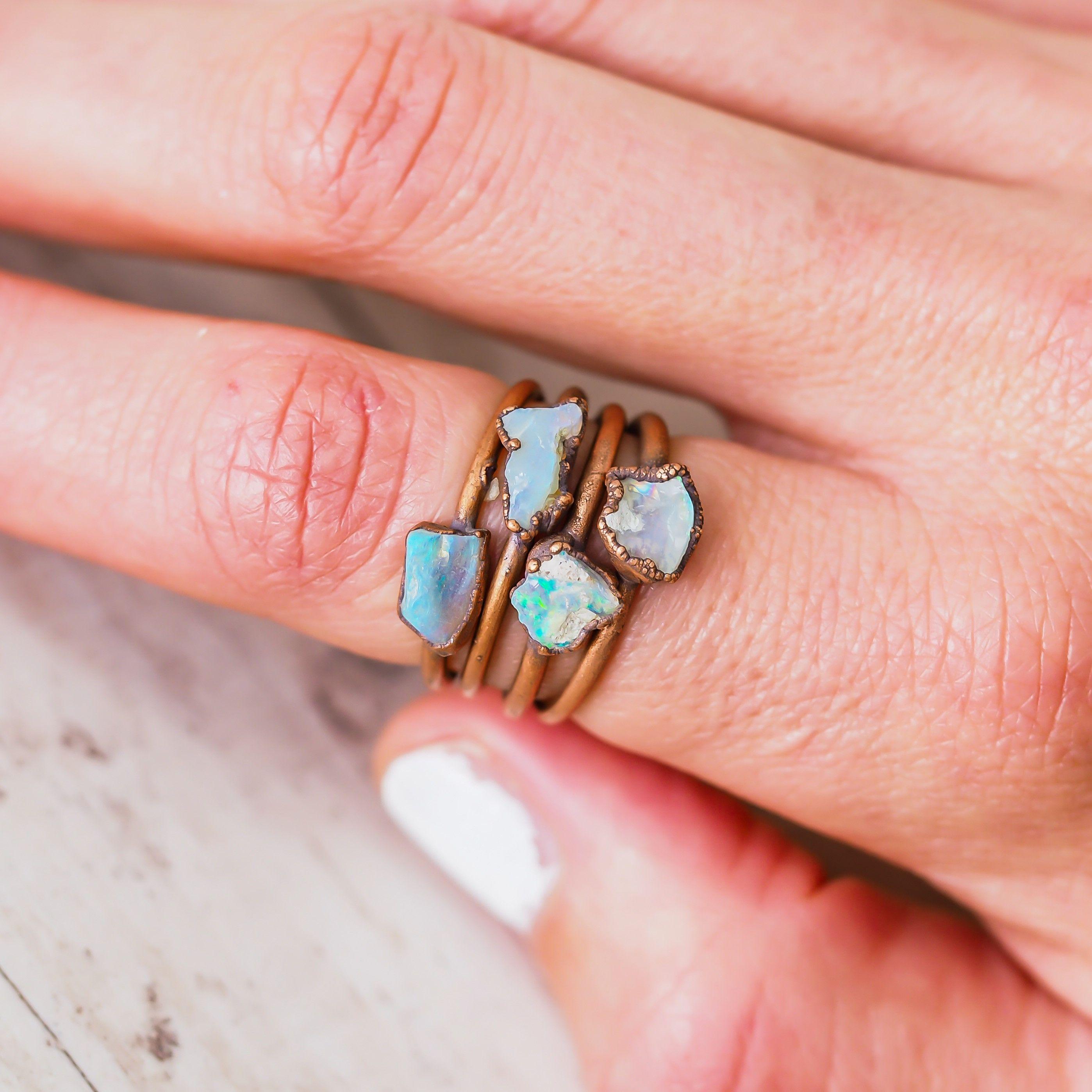 Australian Raw Opal and Copper Ring | リング | Pinterest | Raw opal ...