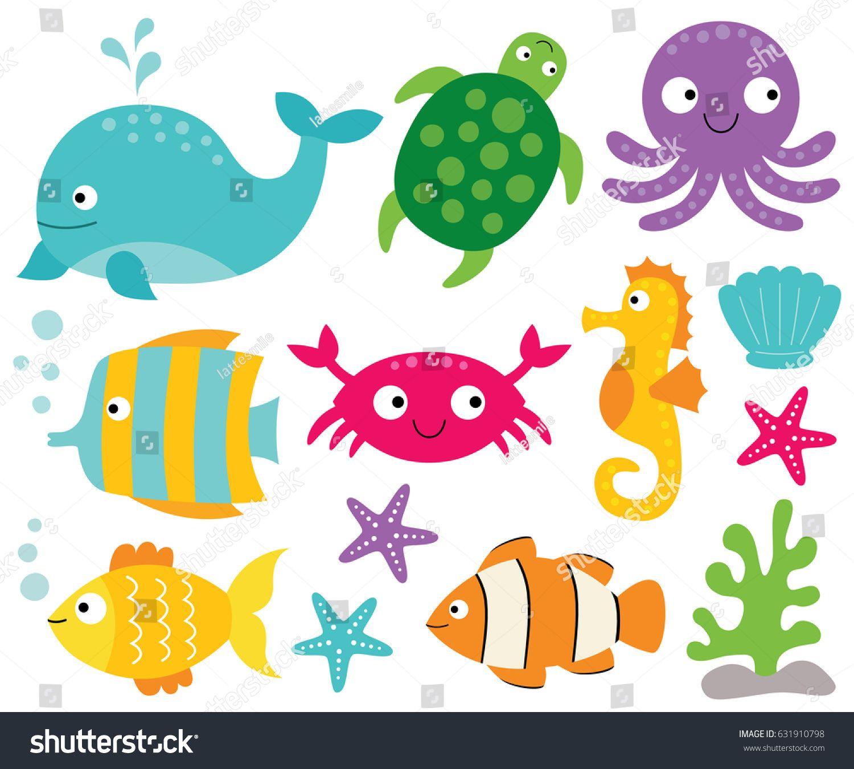 Sea Animals Vector Set Ad Spon Animals Sea Set Vector Sea Animals Sea Creatures Drawing Animals