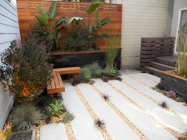 kleinen innenhof gestalten ideen bodenbelag beton   garten, Gartenarbeit ideen