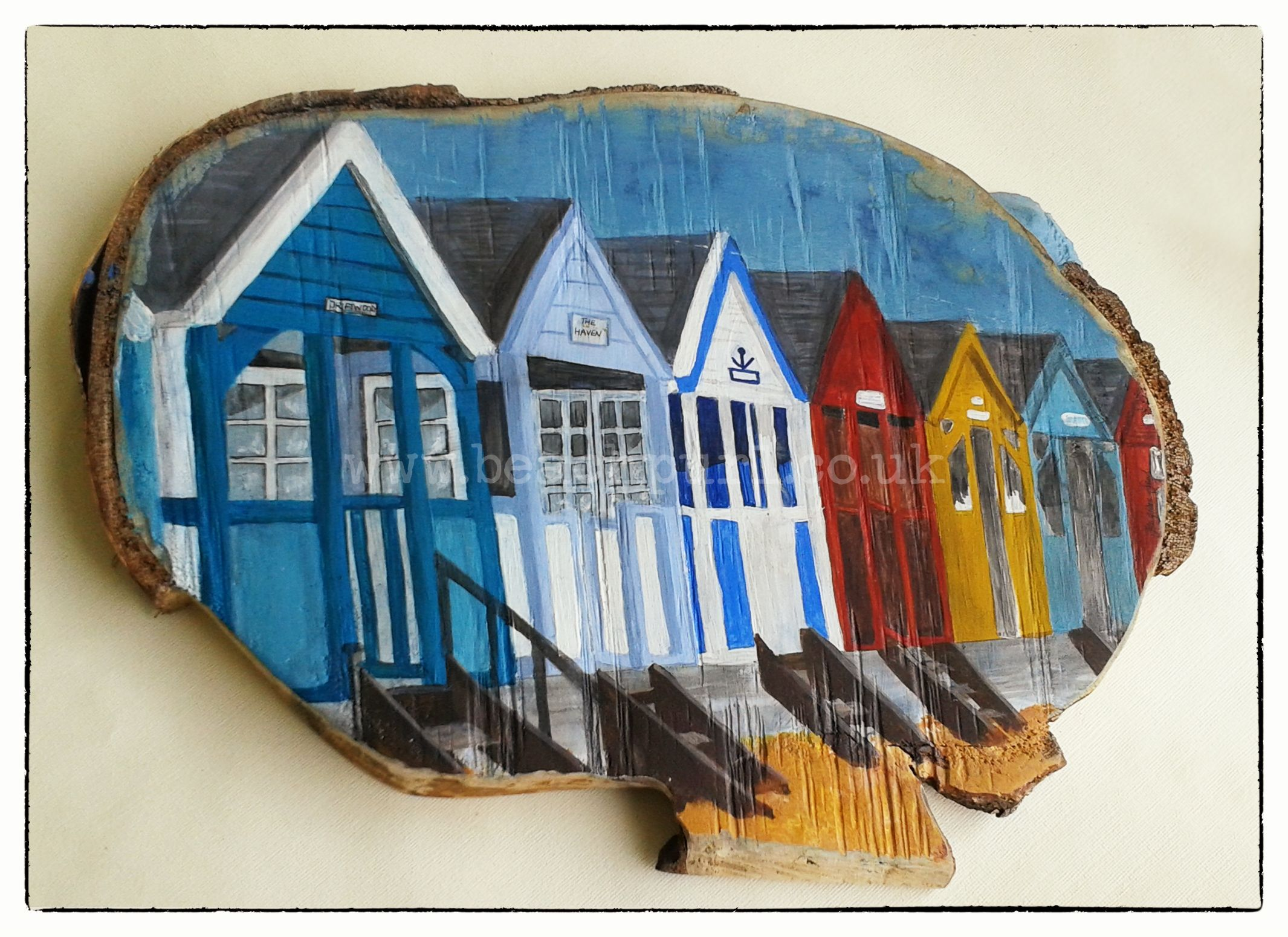 the haven painted beach huts on wood acrylic painting of