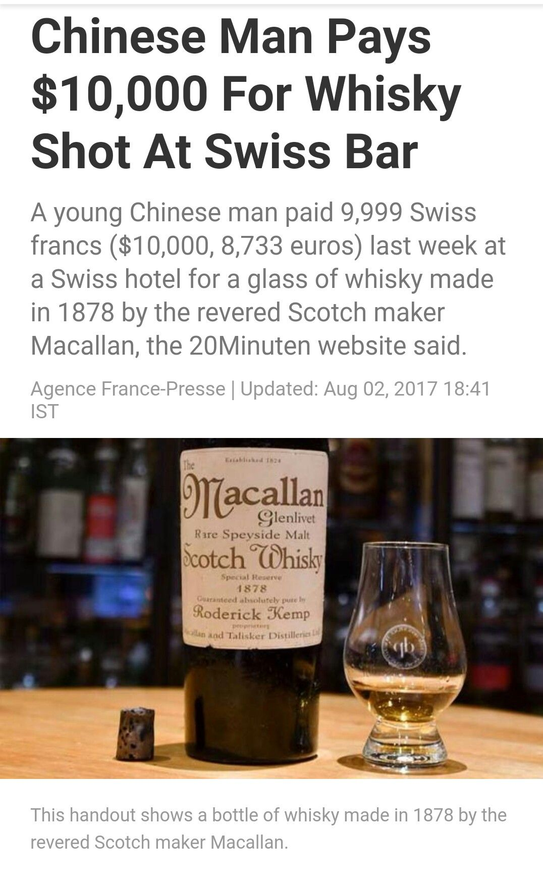 The $10,000 glass of Whisky. Macallan 1878.