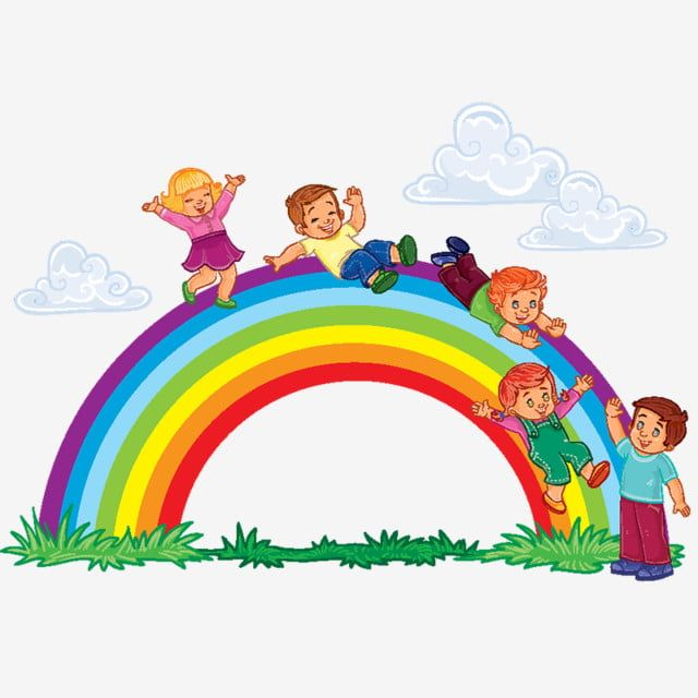الهم الأطفال الصغار الانزلاق إلى أسفل قوس قزح صور المتجهات مع المواد Png Desenhos De Criancas Brincando Ilustracao Crianca Desenho De Nuvem