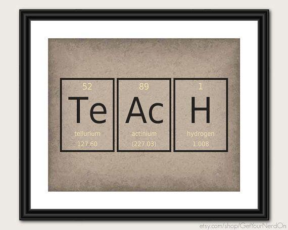 Teach Poster Chemistry Elements Teacher Gift Ideas Nerdy