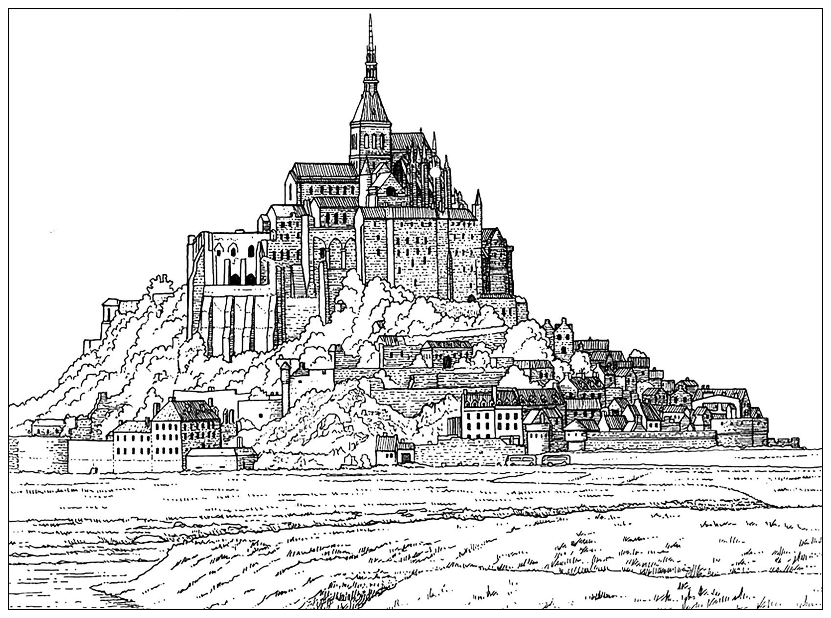 Coloring page of the \'Mont Saint-Michel\' (France)From the gallery ...